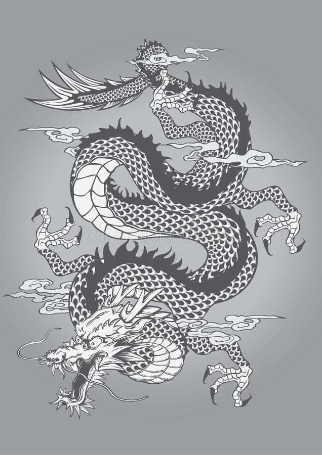 Chinesische Art Dragon Capricorn Goat Tattoo Japanese-Art lizenzfreies stockfoto