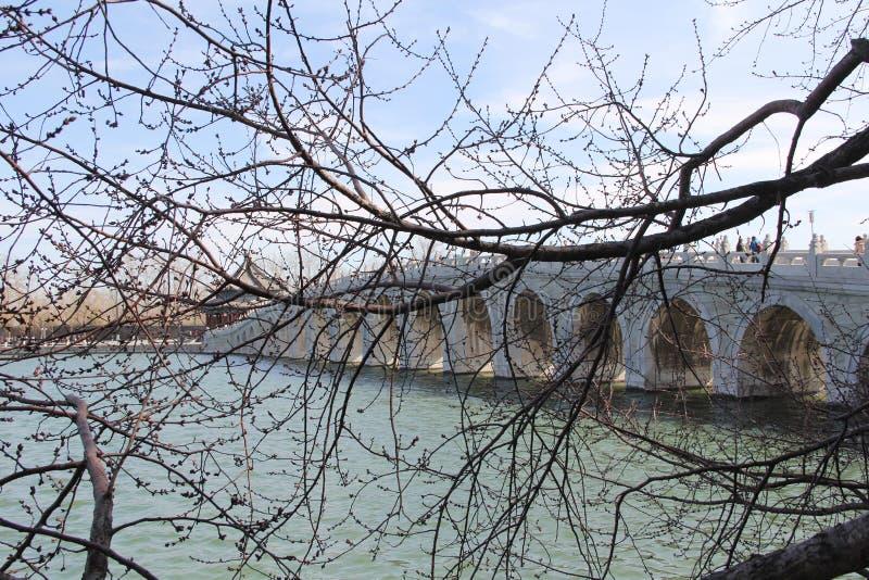 Chinesische Brücke im Sommer-Ort von Peking lizenzfreie stockbilder