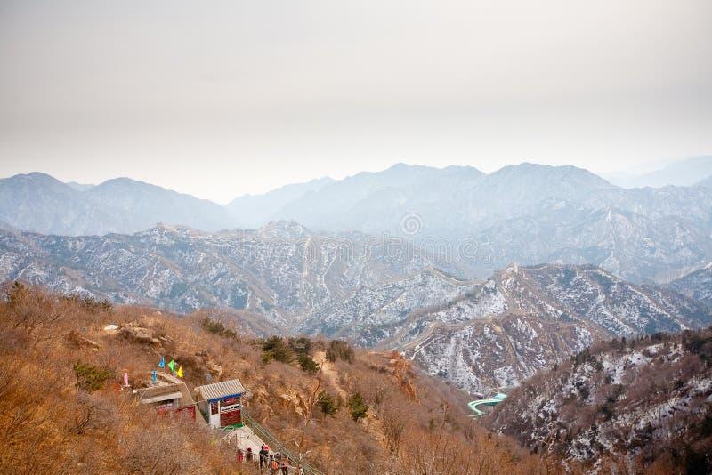 Chinesische Chinesische Mauer im Winter lizenzfreies stockfoto
