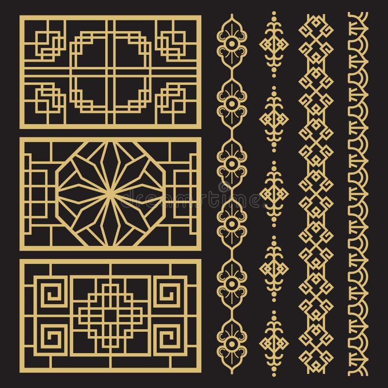 Chinesische Dekoration, traditionelle antike koreanische Grenzen und Rahmen stock abbildung