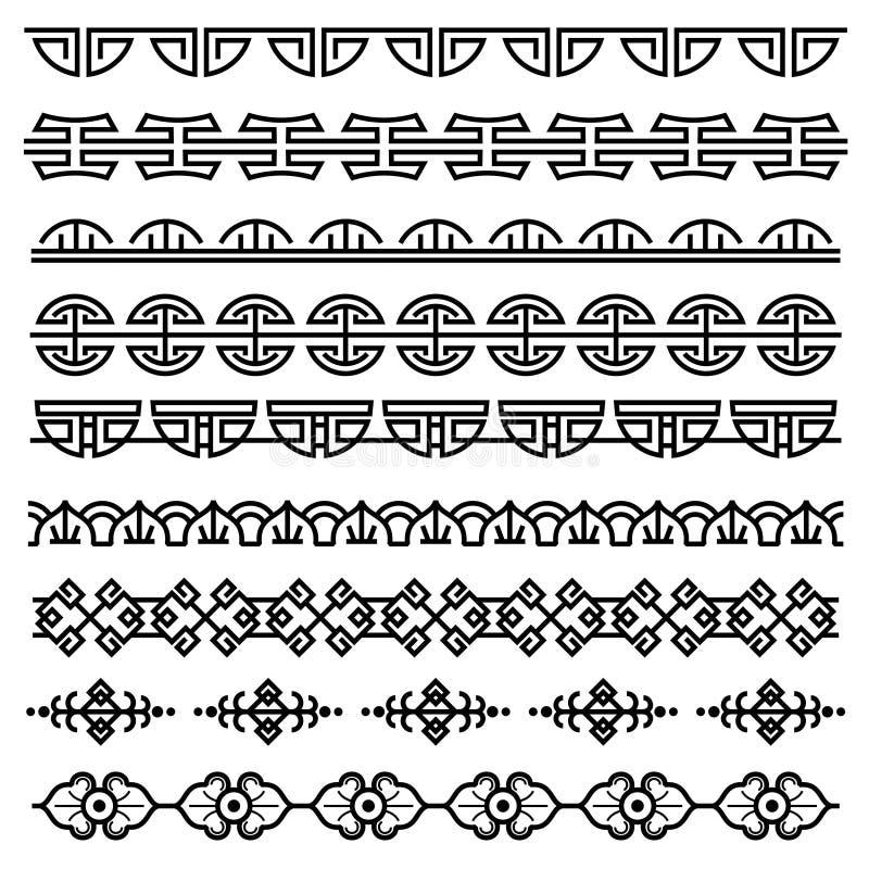 Chinesische Dekoration, traditionelles antikes koreanisches Muster, vector die asiatischen nahtlosen eingestellten Grenzen lizenzfreie abbildung