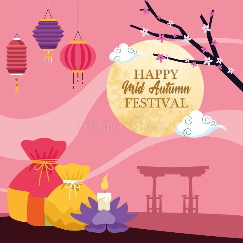 Chinesische Festivalkarikatur des mittleren Herbstes stock abbildung