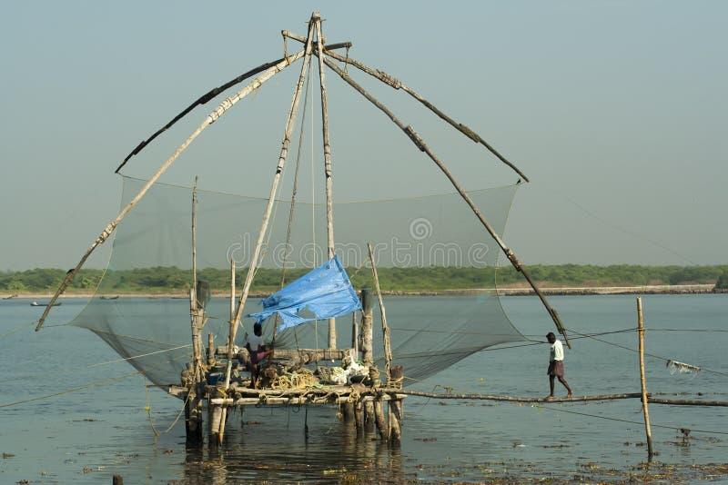 Chinesische Fischernetze lizenzfreie stockbilder