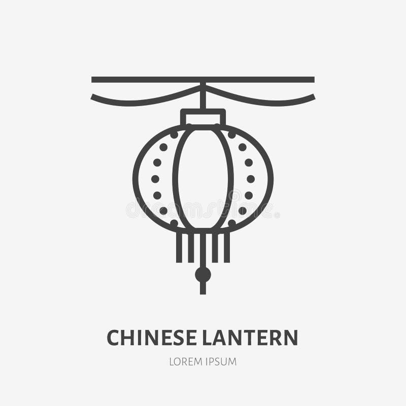 Chinesische flache Linie Ikone der Papierlaterne Dünnes Zeichen des Vektors der Dekoration des neuen Jahres, asiatisches Logo Ori stock abbildung