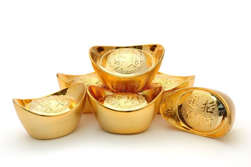 Chinesische Goldbarren stockbilder