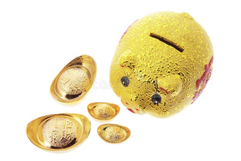 Chinesische goldene Piggy Querneigung lizenzfreies stockfoto