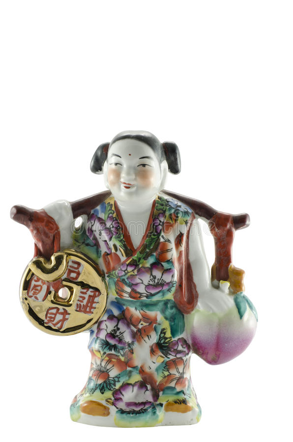 Chinesische Gott-Skulptur, das glückliches und Geld holen lizenzfreie stockbilder