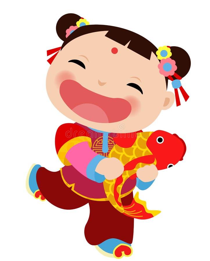 Chinesische Grußkarte des neuen Jahres - Mädchen vektor abbildung
