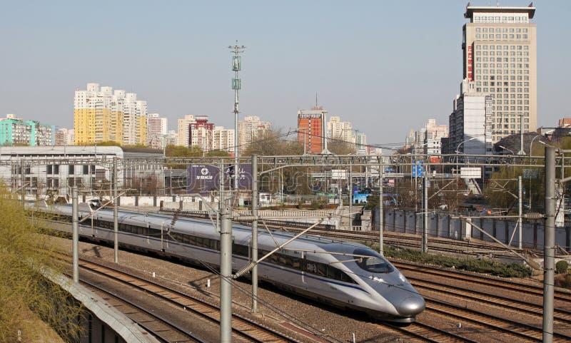 Chinesische Hochgeschwindigkeitsschiene lizenzfreies stockbild