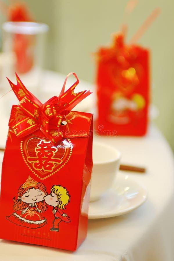 Chinesische Hochzeitsbanketttabelleneinstellung stockbilder