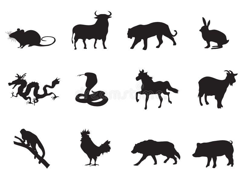 Chinesische Horoskopikonen vektor abbildung