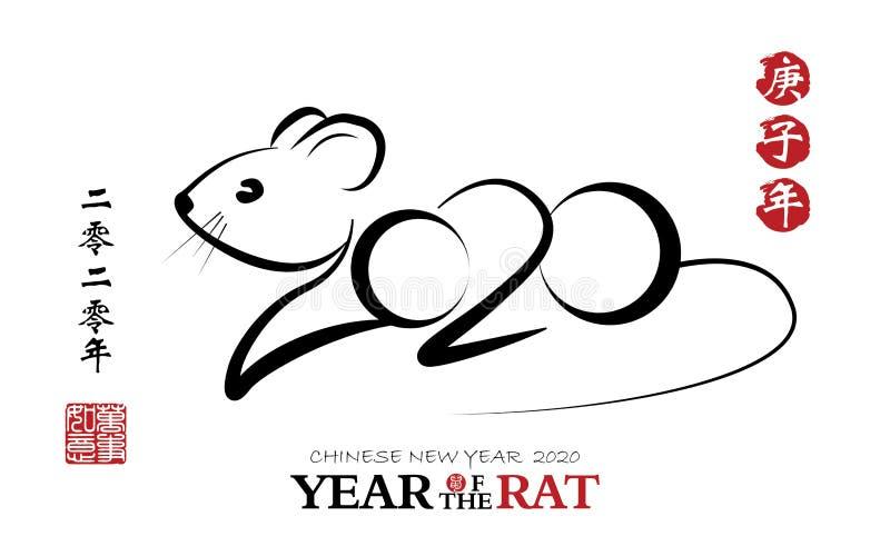 Chinesische Kalligraphie 2020 Jahr der Ratte, chinesischer Vektorentwurf des neuen Jahres Fahnen, kulturell lizenzfreie abbildung