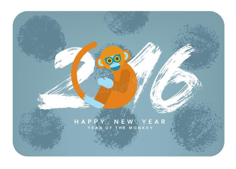 Chinesische Karte des neuen Jahres mit nettem Karikaturaffen Symbol von 2016 lizenzfreie abbildung