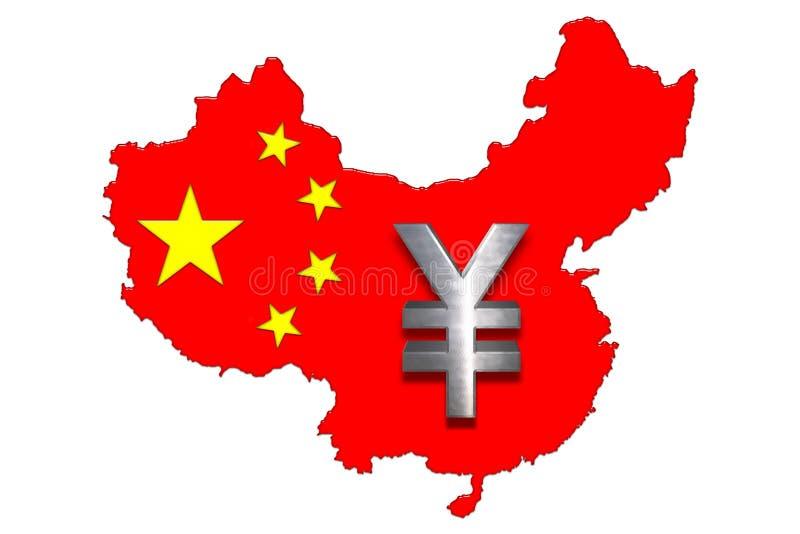 Chinesische Karte und Yuan stock abbildung