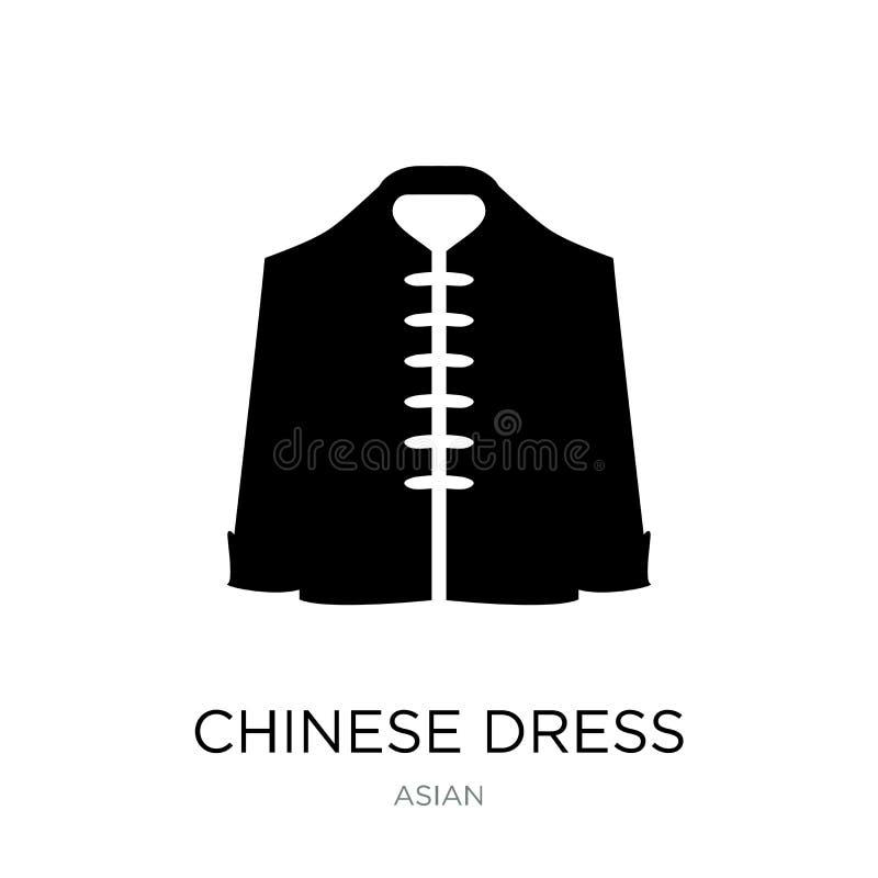chinesische Kleiderikone in der modischen Entwurfsart chinesische Kleiderikone lokalisiert auf weißem Hintergrund chinesische Kle stock abbildung