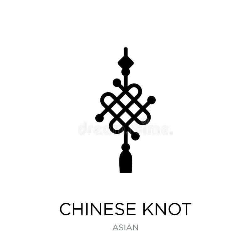 chinesische Knotenikone in der modischen Entwurfsart chinesische Knotenikone lokalisiert auf weißem Hintergrund chinesische Knote stock abbildung