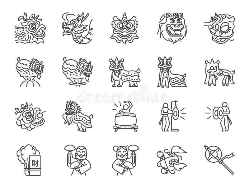 Chinesische Löwetanzlinie Ikonensatz Schloss die Ikonen als Leistungen, Musiker, Löwetanz, Drachetanz, Feier und mehr ein vektor abbildung