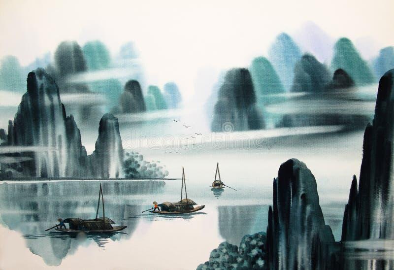 Chinesische Landschaftsaquarellmalerei lizenzfreie abbildung