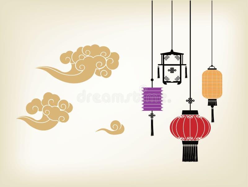 Chinesische Laterne und Wolke lizenzfreie abbildung