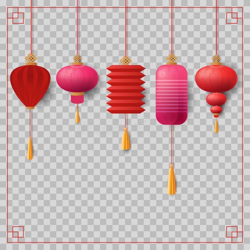 Chinesische Laternen eingestellt Vektor Rot, Rosa und Gold stock abbildung