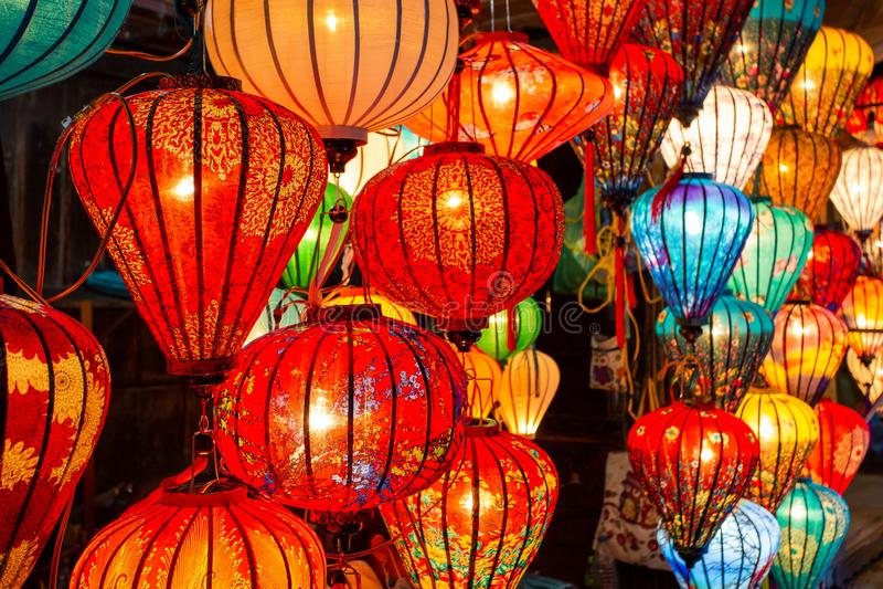 Chinesische Laternen in Hoi An, Vietnam lizenzfreie stockbilder