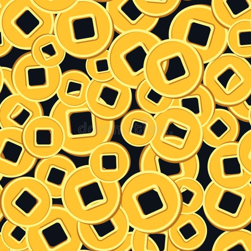 Chinesische Münzen des nahtlosen Musters auf Dunkelheit stock abbildung