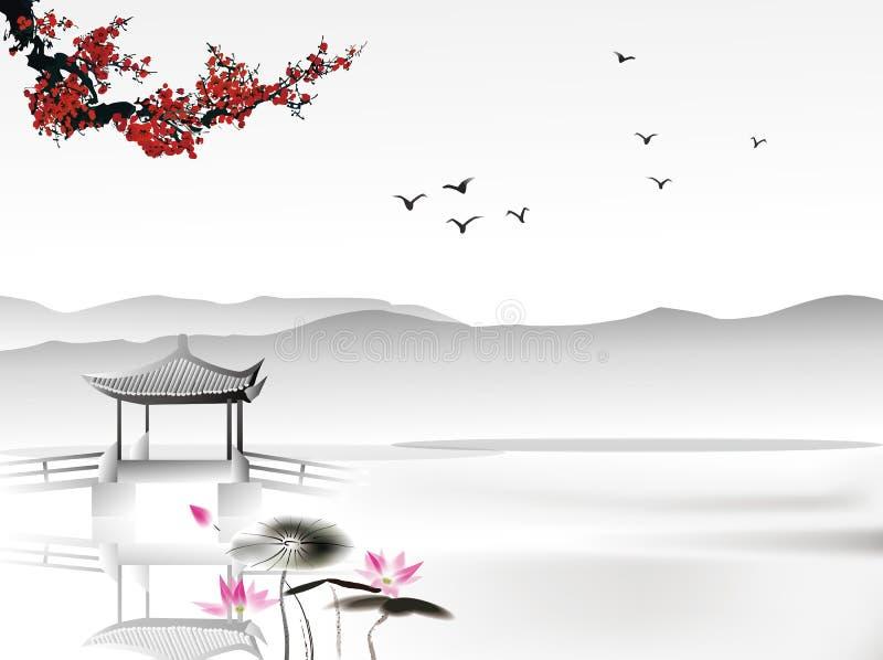 Chinesische Malerei stock abbildung