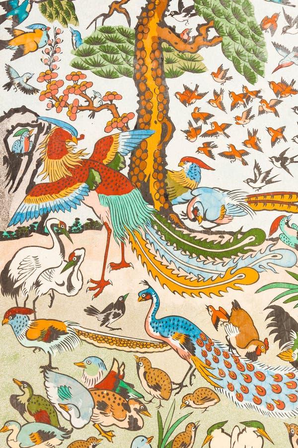 Chinesische Malerei auf der Wand stock abbildung