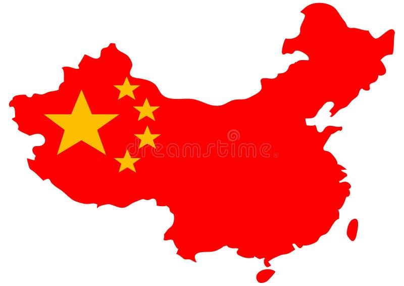 chinesische markierungsfahne auf landkarte vektor abbildung illustration von eingeb rgert. Black Bedroom Furniture Sets. Home Design Ideas