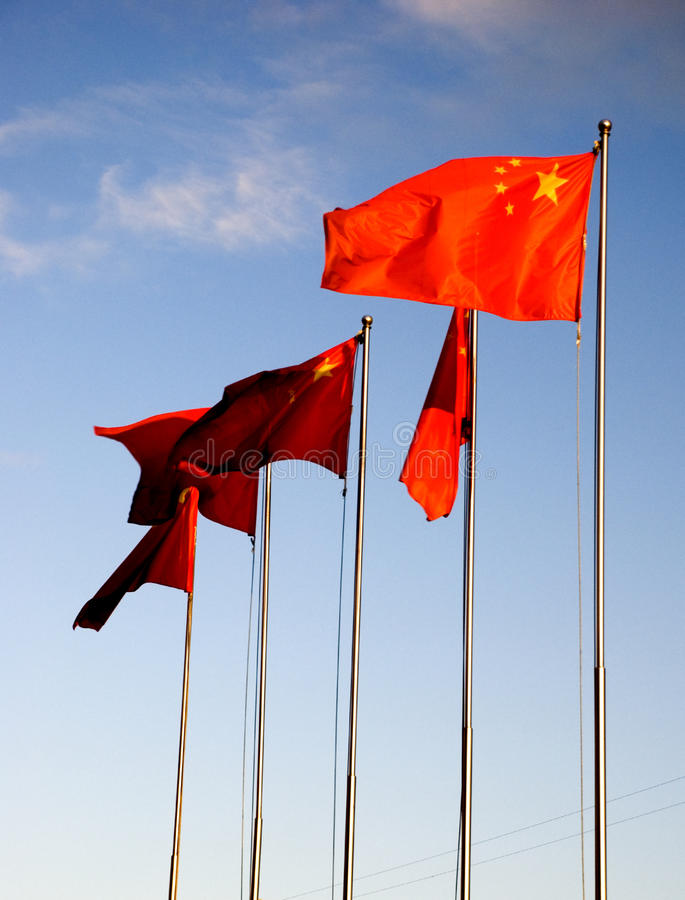 Chinesische Markierungsfahnen stockfotografie