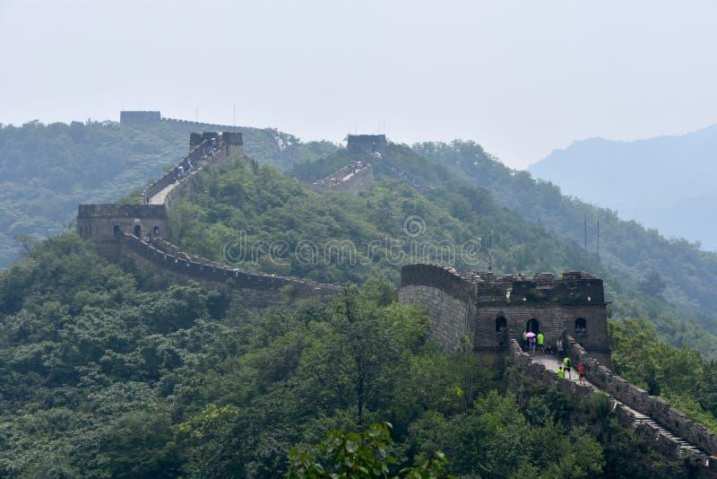 Chinesische Mauer bei Mutianyu, Peking, China stockfotografie
