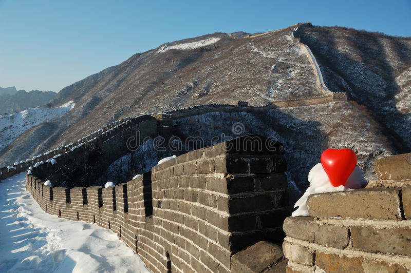 Chinesische Mauer beim Lieben stockbilder