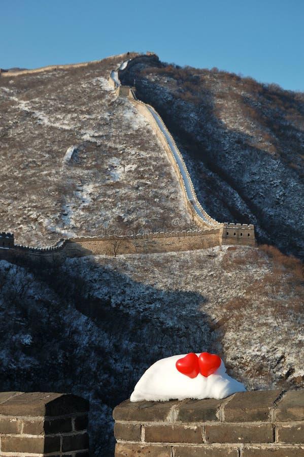 Chinesische Mauer beim Lieben lizenzfreie stockfotos