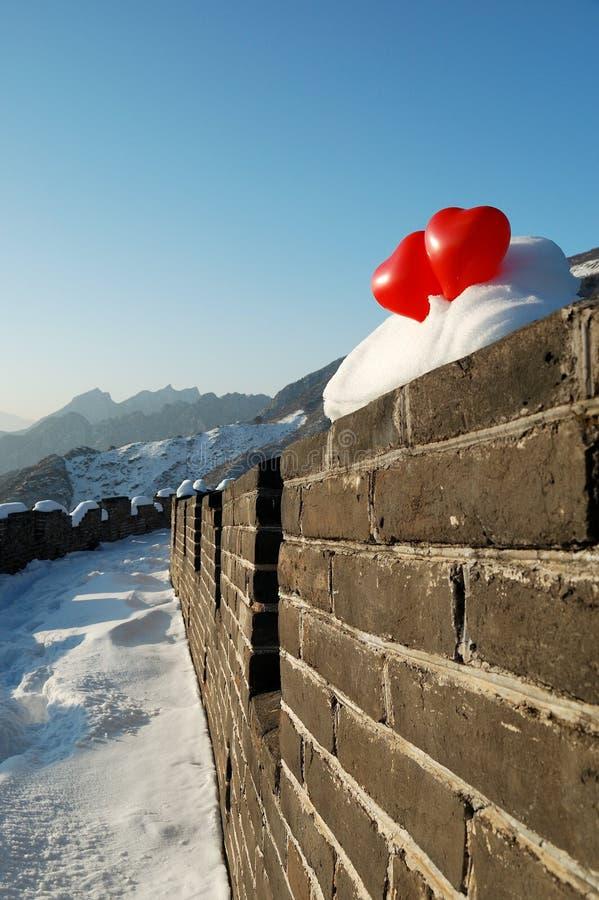 Chinesische Mauer beim Lieben stockbild
