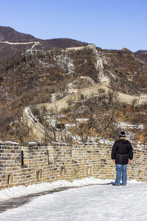 Chinesische Mauer im Winter lizenzfreies stockfoto