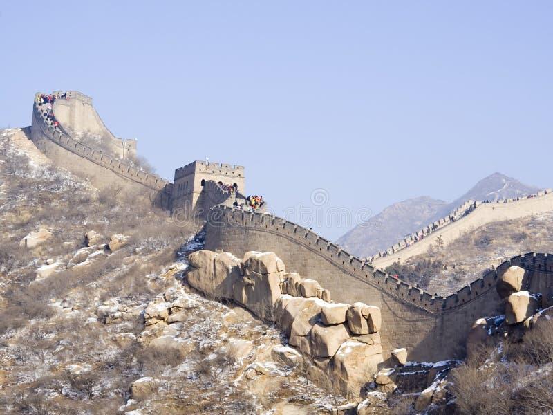 Chinesische Mauer von China im Winter lizenzfreies stockfoto