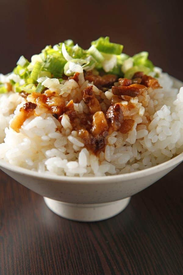 Chinesische Nahrung, gedünsteter Schweinefleischreis stockfoto