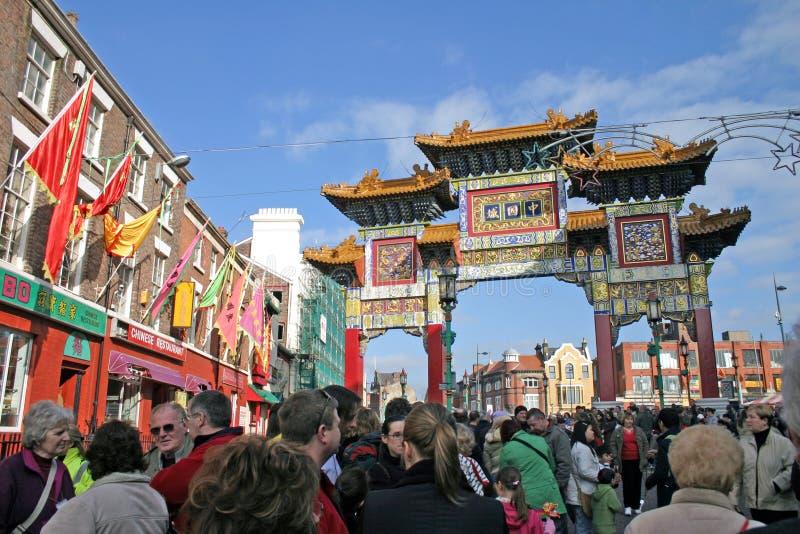Chinesische neues Jahr-Feiern in Liverpool stockbild