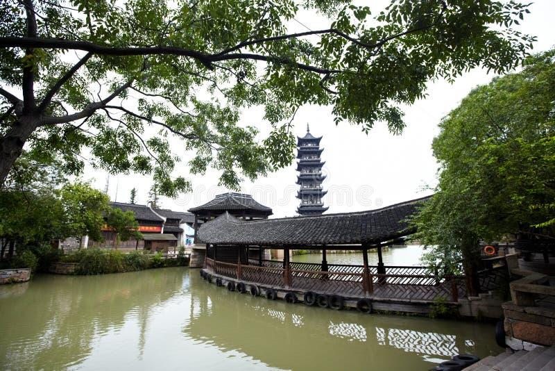 Chinesische Pagode in Wuzhen-Stadt lizenzfreies stockfoto