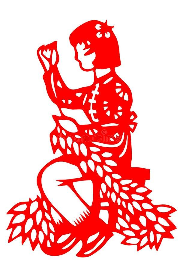 Chinesische Papier-geschnittene Frauenarbeit stockbilder