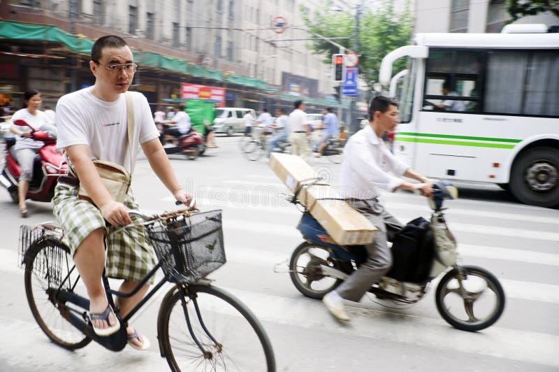 Chinesische Radfahrer stockbild