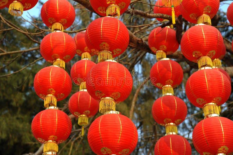 Chinesische rote Laternedekorationen stockbild