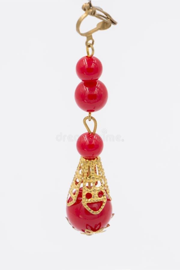 Chinesische rote Ohrringe lizenzfreie stockfotos