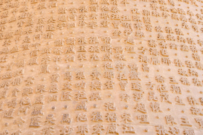 Chinesische Schriftzeichen schnitzten auf einer Wand am chinesischen Tempel in Tha stockbild
