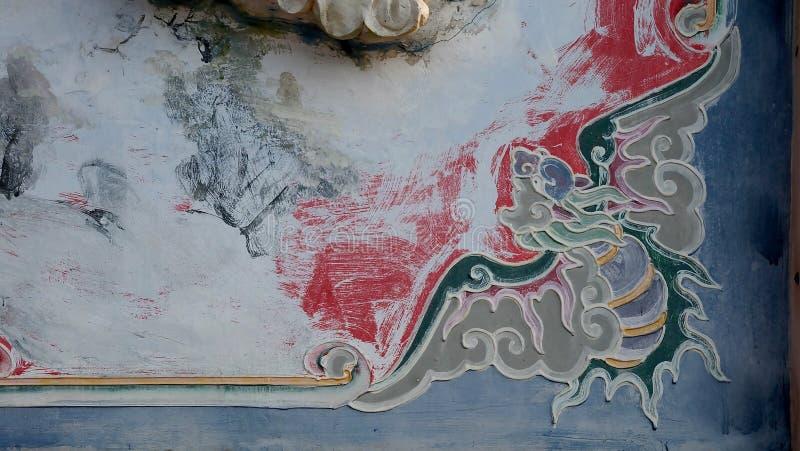 Chinesische Schwangraffiti, Wandbildkunst im chinesischen Tempel in Thailand lizenzfreies stockfoto