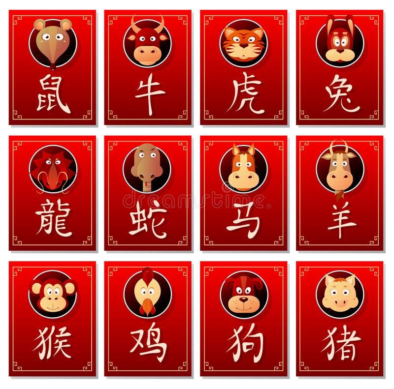 chinesische sternzeichen mit kalligraphiehieroglyphen vektor abbildung illustration von. Black Bedroom Furniture Sets. Home Design Ideas