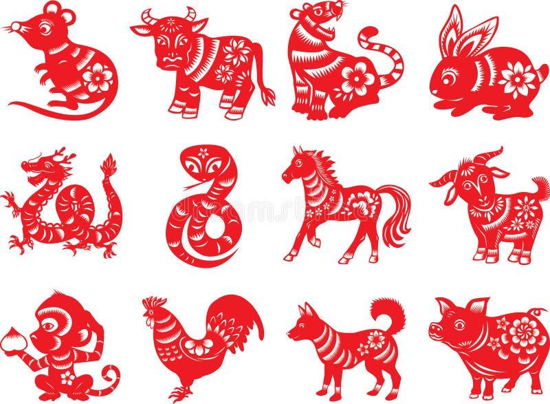 Chinesische Tiere des Tierkreises zwölf stockbild