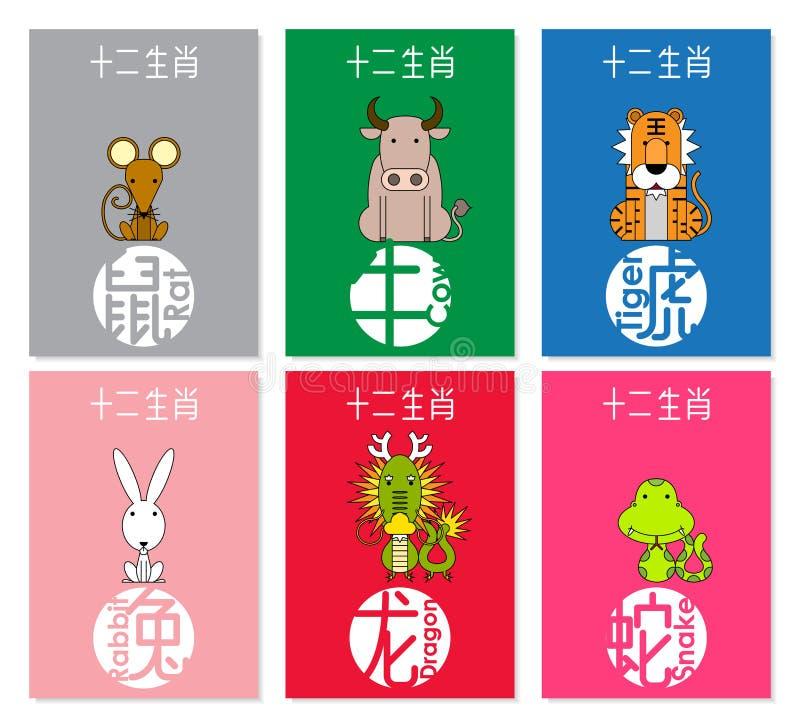 12 chinesische Tierkreistiere stellten A, chinesische Benennungsübersetzung ein: Ratte, Ochse, Tiger, Kaninchen, Drache, Schlange stock abbildung