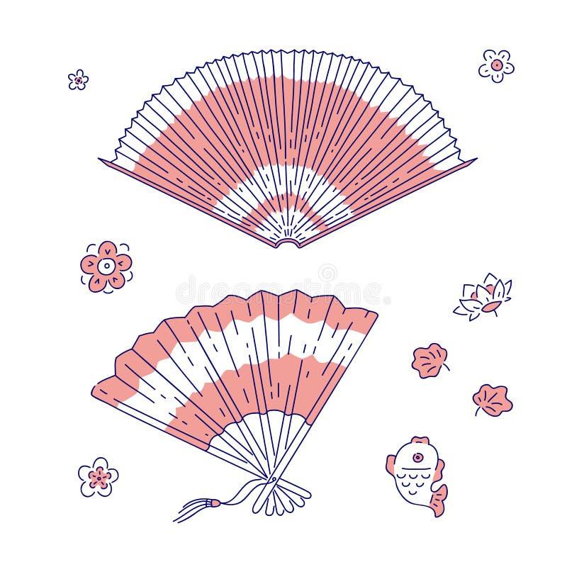 Chinesische traditionelle Fanvektorlinie nationale Sonderzeichen des Kunstsatzdekorations-Frauenkostümeinzelteils von China-Kultu lizenzfreie abbildung