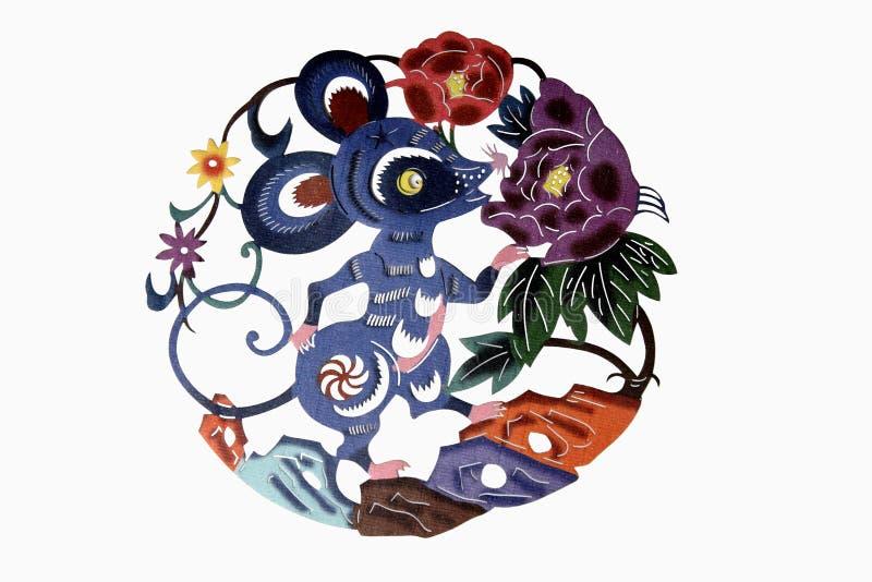 Chinesische Tuchkunst Papier-schnitt vektor abbildung